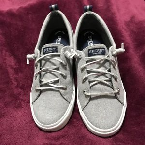 New!! Adorable Silver Sperry Tennis Shoe 10M
